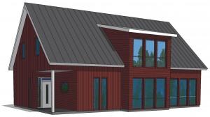 """Ett modernt hus färgsatt i Flüggers kulör """"Rättvik"""". Här är såväl fasad som accentfärg mörkt röd, vilket ger ett enhetligt uttryck. Illustration: Frida Sandman"""