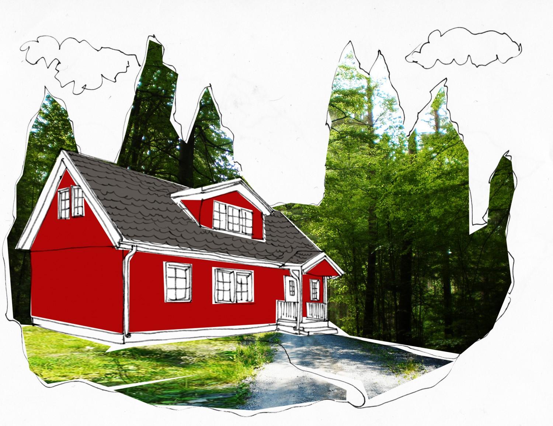 Huset vid skogsdungen bör harmonisera med naturens toner. Måla gärna i färger som rött, grönt, brunt eller grått.